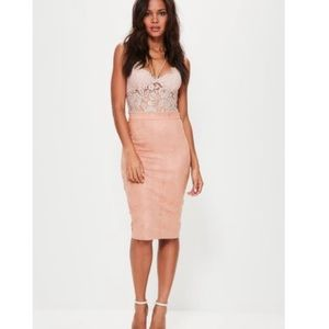 Missguided faux suede skirt- Dusty pink